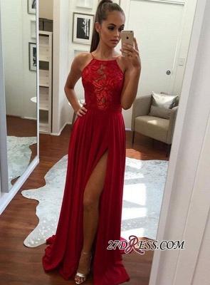 Halter Elegant Chiffon Red Split Prom Dress UK BA6877_1
