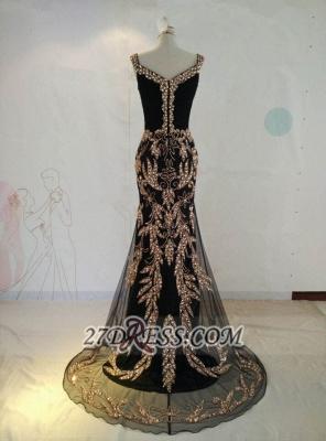 Elegant Black V-Neck Mermaid Prom Dress UK Beadings Crystals Sweep Train Evening Gowns_4