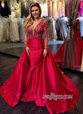 V-Neck Luxury Red Beading Mermaid Long-Sleeves Open-Back Overskirt Evening Gowns_2