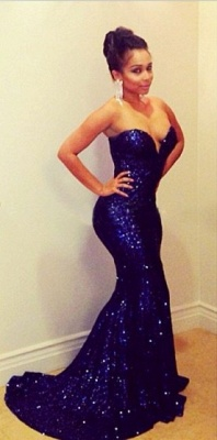 Elegant Sequins Sweetheart Mermaid Prom Dress UK_3