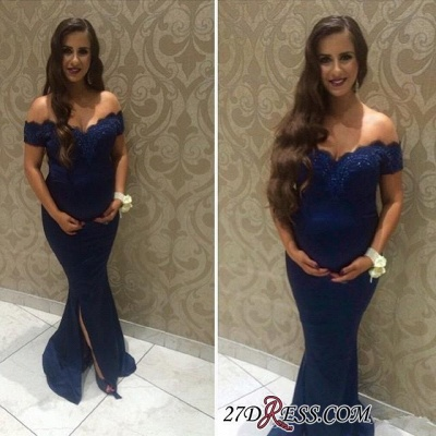 Off-the-shoulder Maternity Newest Front-split Lace Beads Sweep-Train Prom Dress UK_2