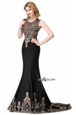Scoop Sleeveless New Mermaid Appliques Black Prom Dress UK_4