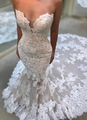 Elegant Sweetheart Wedding Dresses UK   Lace Appliques Sleeveless Bridal Gowns_1