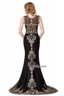 Scoop Sleeveless New Mermaid Appliques Black Prom Dress UK_5