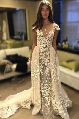 Delicate Short Sleeve Lace Appliques A-line Wedding Dress_1