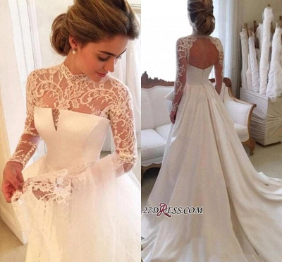 High-Neck Elegant A-line Long-Sleeve Lace Zipper Wedding Dress_3