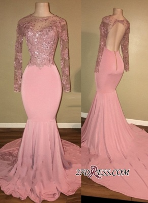 Pink prom Dress UK, long sleeve lace evening gowns RM0_2