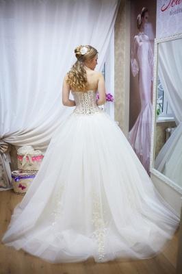 Elegant Sweetheart Sleeveless Tulle Wedding Dress With Beadss_2