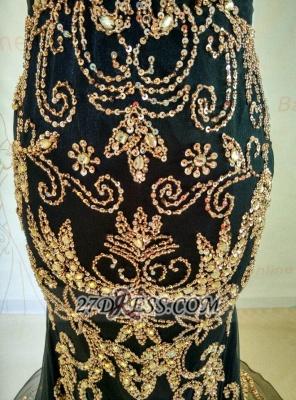 Elegant Black V-Neck Mermaid Prom Dress UK Beadings Crystals Sweep Train Evening Gowns_5
