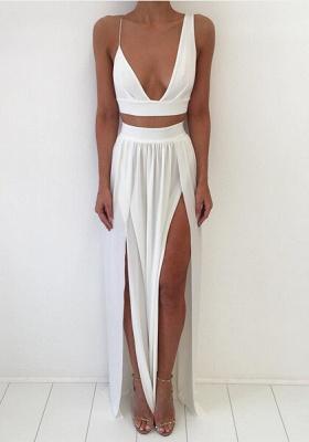 Elegant White Two Piece Prom Dress UK Front Split Floor-length_1