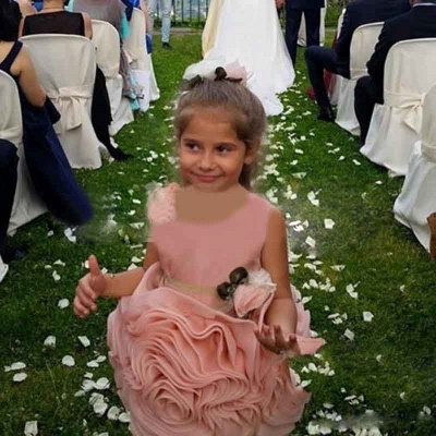 Lovely Flowers Pink Short Girl Pageant Dress Bowknot Lace-up Sleeveless_4