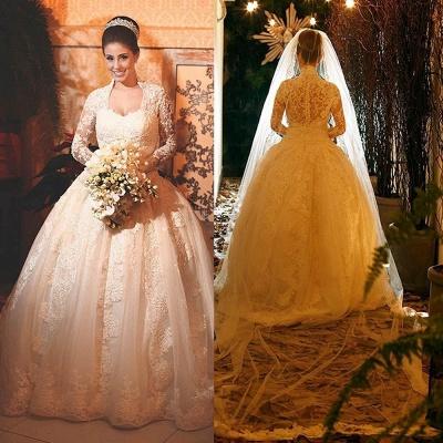 Modern Lace Long Sleeve Wedding Dress Ball Gown Button Zipper Back_4