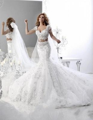 Hot Sale Cap Sleeve Arabian Sexy Mermaid Wedding Dress Lace Appliques_1