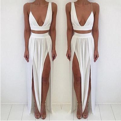 Elegant White Two Piece Prom Dress UK Front Split Floor-length_3
