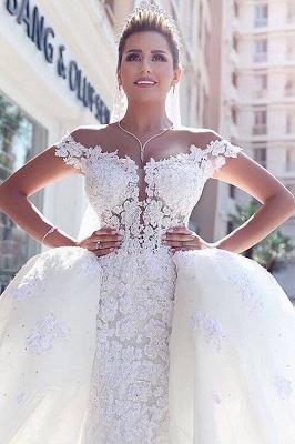 Gorgeous Off-the-Shoulder Detachable Lace Tulle Wedding Dress_5