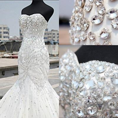 Gorgeous Crystals Sexy Mermaid Tulle Wedding Dress Sweetheart Sleeveless_3