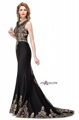 Scoop Sleeveless New Mermaid Appliques Black Prom Dress UK_2