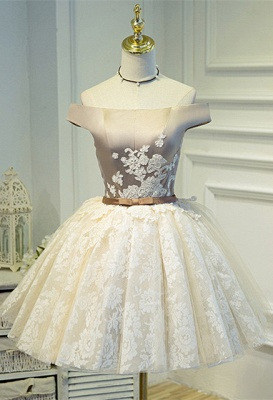 Lovely Off-the-Shoulder Homecoming Dress UK | Short Lace Party Dress UK_1