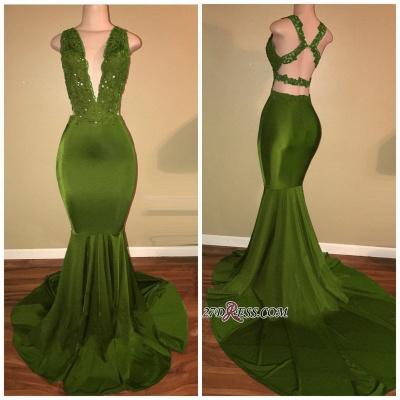 Luxury V-Neck Sleeveless Prom Dress UK Mermaid Long With Lace Appliques BA7993_1