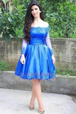 Knee-Length blue Long-Sleeve Appliques Off-the-shoulder Lace Sexy Homecoming Dress UK_1