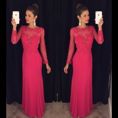 Sexy Long Sleeve Red Chiffon Prom Dress UK Lace Appliques Sequins AP0_4