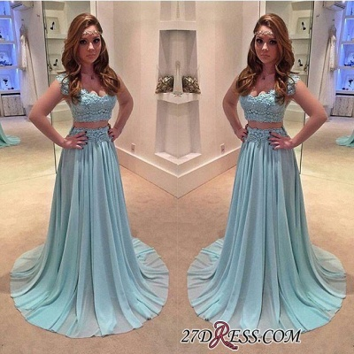 Sweep-Train Two-Piece Chiffon Lace A-line Newest Prom Dress UK_1