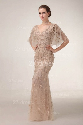 V-Neck Sheath Tulle Prom Gowns Floor Length Appliques Evening Dress UKes UK with Beadings_4