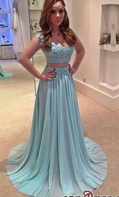 Sweep-Train Two-Piece Chiffon Lace A-line Newest Prom Dress UK_2