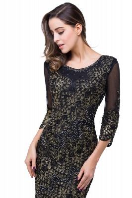 Elegant Black 3/4 Long Sleeve Mother Of the Bride Dress UK Mermaid With Appliques_4