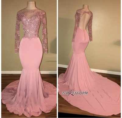 Pink prom Dress UK, long sleeve lace evening gowns RM0_1