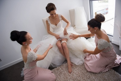 Modern Jewel Cap Sleeve Mermaid Bridesmaid Dress UK With Beadings_2