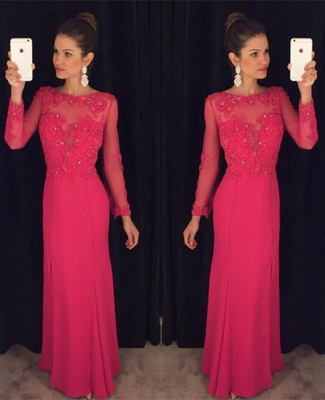 Sexy Long Sleeve Red Chiffon Prom Dress UK Lace Appliques Sequins AP0_3