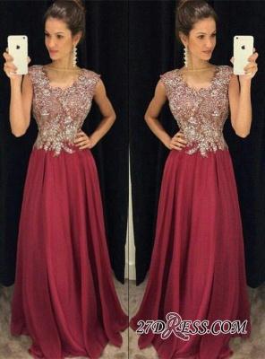 Beadings Appliques Floor-Length Sleeveless A-Line Sexy Prom Dress UKes UK_2