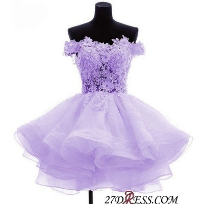Short Flowers Ruffles Cute Off-the-Shoulder Homecoming Dress UK_2