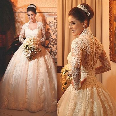 Modern Lace Long Sleeve Wedding Dress Ball Gown Button Zipper Back_3