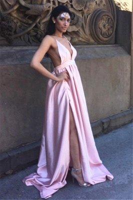 Charming Split Pink Long Prom Dress UK Spaghetti Straps Backless BA3533_1