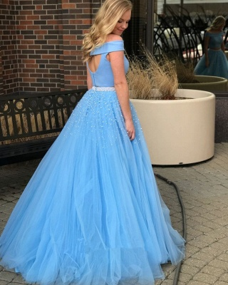 Blue Two-Piece Prom Dress UK   Off-The-Shoulder Tulle Evening Dress UKes UK With Beads BA9646_2