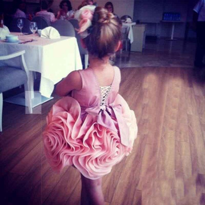 Lovely Flowers Pink Short Girl Pageant Dress Bowknot Lace-up Sleeveless_3