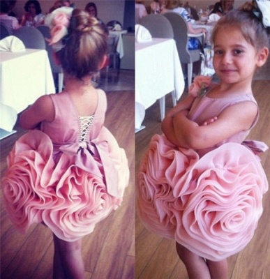 Lovely Flowers Pink Short Girl Pageant Dress Bowknot Lace-up Sleeveless_1