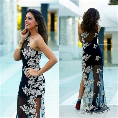 Elegant Tulle Appliques Bodycon Prom Dress UK One Shoulder Sweep Train_3