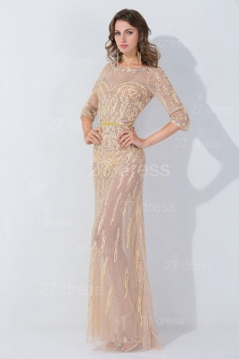 Modern Jewel Long Sleeve Evening Dress UK Floor-length Zipper_2