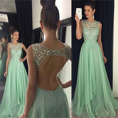 Newest Chiffon Beadings A-line Prom Dress UK Illusion Sweep Train AP0_4
