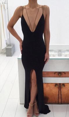 Modern Black Spaghetti Strap Prom Dress UK Front Split Open Back_1