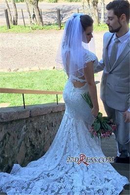 Elegant V-Neck Sexy Mermaid Sleeveless Open-Back Lace Wedding Dress_2