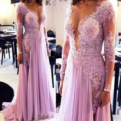 Elegant Lace Appliques Crystals Prom Dress UK V-neck Chiffon_1