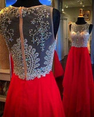 Sparkly Sleeveless Red Crystal Beadings Evening Dress UK Long chiffon Floor Length_1