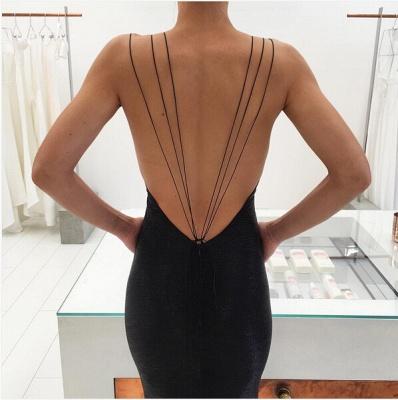 Modern Black Spaghetti Strap Prom Dress UK Front Split Open Back_5