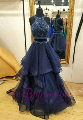 Two-Piece Modest Jewel Zipper Sleeveless Ruffles Crystals Prom Dress UK_2