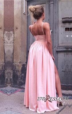 Spaghetti-Straps A-Line Simple V-Neck Pink Side-Slit Prom Dress UKes UK_2