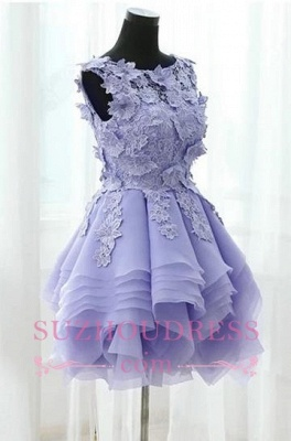 Short Straps Cute Sleeveless Flowers Ruffles Homecoming Dress UK_3